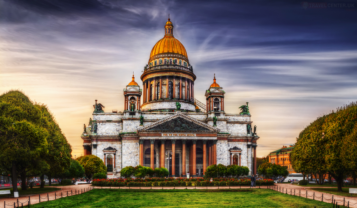 Cities to visit in 2021 - Isaac's Cathedral from park square in St. Petersburg